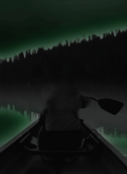 Navigating by moonlight on a lake in the dark